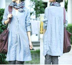 Free Style plissé robe lin bleu clair / de toute taille par Ramies, $76.00