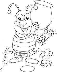 honey bee collecting honey sweet coloring pages