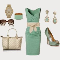 Elegant Outfits | Mint Green Dress  Moda Jade NOVO Dress, Gucci Bag, Michael Kors Watch, Gucci Sunglasses, Badgley Mischka Shoes  by rs887