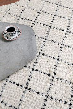 Hand-woven and wool, black and ivory create a modern diamond pattern throughout. Unfinished edges and a textured, plush feel make this the ideal complement to rustic or industrial interiors. Wool Carpet, Rugs On Carpet, Carpets Online, Industrial Interiors, Living Room Inspiration, Shades Of Black, Wisteria, Diamond Pattern, Wool Rug