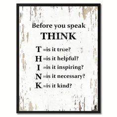 "Before You Speak Think Saying Canvas Print Picture Frame Home Decor Wall Art Gifts (22"" x 29""), Black"