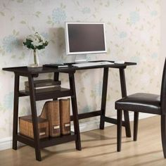 Baxton Studio Mott Dark Brown Wood Modern Desk with Sawhorse Legs (Small). Affordable modern furniture from Baxton Studio Modern Wood Desk, Modern Desk, Home, Dark Brown Writing Desk, Writing Desk Modern, Wooden Desk, Dark Brown Desks, Wholesale Interiors, Cheap Office Furniture