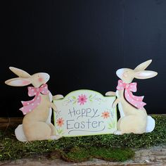 "Pastel Rabbits with ""Happy Easter"" Banner The Round Top Collection E9032"