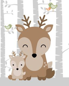 Engravings of animal nursery, forest nursery, forest nursery decor, nursery art forrest