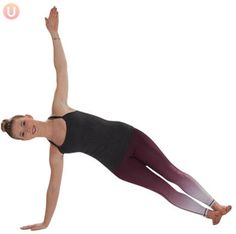 Chloe Freytag demonstrating Side Plank Pose in a black tank top and yoga pants