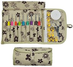 Crochet Hook Set - Kit has Ergonomic Crocheting Needles labeled with US and Metric sizes - Cloth Case - Zipper Pocket - Scissors and Supplies - Haven for Hands Crochet Hooks - Create with Yarn Today! Crochet Hook Case, Knitting Needle Case, Crochet Hooks, Crochet Gifts, Hand Crochet, Sewing Hacks, Sewing Crafts, Diy Bags Purses, Crochet Needles