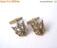 Sterling Cuff links Double Headed Eagle Scepter & Orb Back to School Sale Etsy Vintage, Vintage Items, Vintage Jewelry, Double Headed Eagle, Team Gifts, Unique Gifts, Cufflinks, Stud Earrings, Pendant