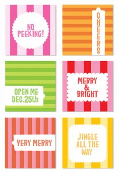 "Free Christmas Tag Downloads. Each tag is 2.5""square, would make cute stickers too!"