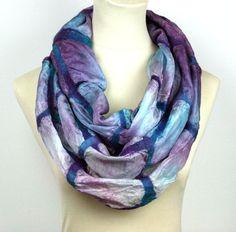 NEW Nuno Felted Hand Dyed Infinity Silk Scarf   Purple by ZMFelt, £52.00