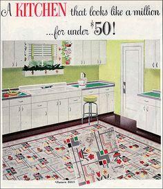 1949 Bird Linoleum - Mid century kitchen design - Retro Kitchens of the The linoleum here looks just like a tablecloth I have. 1940s Decor, Retro Home Decor, Home Decor Trends, Decor Ideas, Vintage China, Retro Vintage, 1940s Kitchen, Vintage Kitchen, Retro Kitchens