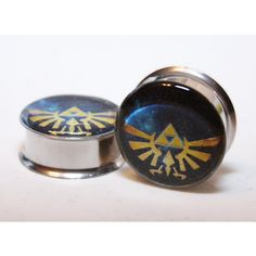 0g-9/16in Zelda Triforce Plugs (54 SAR) ❤ liked on Polyvore featuring earrings, gauges and plugs