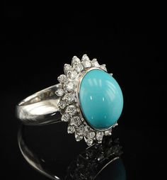 Persian turquoise and diamond vintage ring in 18kt gold via hawkantiques