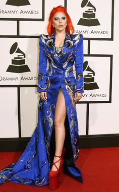 Lady Gaga Channels David Bowie by Wearing an Orange Wig and a Blue Blazer on 2016 Grammys Red Carpet  Lady Gaga, 2016 Grammy Awards