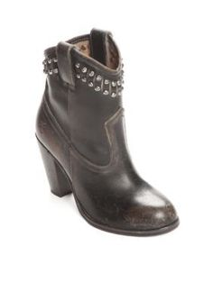 Frye Black Jenny Cut Stud Short Boots