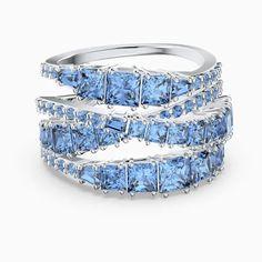 Bague Twist Wrap Swarovski bleu métal rhodié - 😍 Découvrir ici - #BagueSwarovski #BagueFemme #Swarovski #Cadeau #Bague #bijouxfemme #bijoux #jewelry #tendances Swarovski Uk, Bracelet Swarovski, Swarovski Gifts, Swarovski Jewelry, Swarovski Crystals, Lotion, Baguette Ring, Premier Jewelry, Wrap