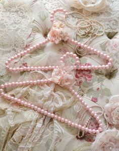 Lovely Pair of Embellished Pink Faux Pearl Clothes Hangers