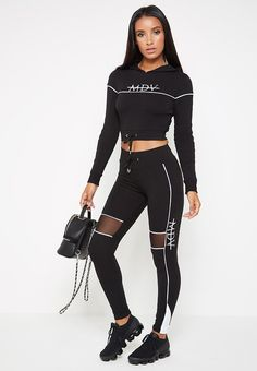 Newest Screen Womens activewear fashion Strategies, , Piped Contrast Mesh MDV Joggers - Black Discover activewear for women at ASOS. Sporty Outfits, Summer Outfits, Fashion Outfits, Sport Fashion, Fitness Fashion, Leggings, Latest Clothing Trends, Jogger, Workout Attire
