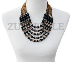 Zuri Perle - ZPBL303 - Handmade Black Onyx Beads African Wedding Necklace Set, $280.00 (http://www.zuriperle.com/new-arrivals/zpbl303-handmade-black-onyx-beads-african-wedding-necklace-set.html/)