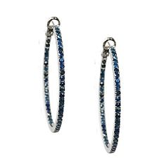 Mary 2mm Blue Sapphire Hoops in Sterling Silver - Meredith Marks Designs (Other colors and sizes available.)