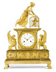 A Consulat ormolu mantel clock circa 1805, the dial signed Thiery à Paris