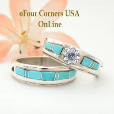 Four Corners USA Online - Size 8 Turquoise Engagement Bridal Wedding Ring Set Native American Wilbert Muskett Jr WS-1481, $225.00 (http://stores.fourcornersusaonline.com/size-8-turquoise-engagement-bridal-wedding-ring-set-native-american-wilbert-muskett-jr-ws-1481/)