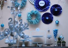 New Year's Engagement Party! Navy, Blue, Silver, White and Black. Blue and Silver New Year's Party #newyears #party