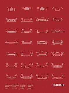 Auto Icon Screen Print Series: Ferrari  Models shown: 1947 125 S / 1949 166 MM BARCHETTA / 1953 250 MM BERLINETTA / 1957 250 TESTA ROSSA / 1958 250 GT SPYDER CALIFORNIA / 1959 400 SUPERAMERICA / 1959 250 SWB / 1962 250 GTO / 1964 250 GT LUSSO BERLINETTA / 1967 275 GTB/4 BERLINETTA / 1967 330 P4 BERLINETTA / 1968 365 GTB/4 DAYTONA / 1969 246 DINO GT / 1975 308 GT/GTS / 1976 FERRARI 512 BB / 1984 288 GTO / 1984 TESTAROSSA / 1987 F40 / 1996 550 MARANELLO / 1996 F50 GT / 1999 360 MODENA / 2002…