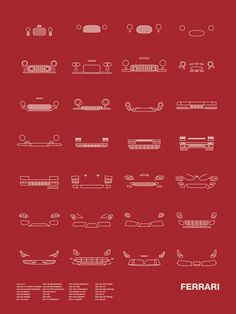 Auto Icon Screen Print Series: Ferrari  Models shown: ​1947 125 S / 1949 166 MM BARCHETTA / 1953 250 MM BERLINETTA / 1957 250 TESTA ROSSA / 1958 250 GT SPYDER CALIFORNIA / 1959 400 SUPERAMERICA / 1959 250 SWB / 1962 250 GTO / 1964 250 GT LUSSO BERLINETTA / 1967 275 GTB/4 BERLINETTA / 1967 330 P4 BERLINETTA / 1968 365 GTB/4 DAYTONA / 1969 246 DINO GT / 1975 308 GT/GTS / 1976 FERRARI 512 BB / 1984 288 GTO / 1984 TESTAROSSA / 1987 F40 / 1996 550 MARANELLO / 1996 F50 GT / 1999 360 MODENA / 2002…