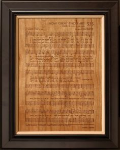 Framed hymns.  I'm definitely doing this for wall around my piano and hymnal collection.