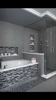 Modern bathroom design 441563938446383870 - 'Charcoal' Black Sliced pebble tile – Black and White Tiled Bathroom- Walk in glass shower- Modern and Contemporary Bathroom- Source by Master Bathroom Shower, Bathroom Renos, Bathroom Interior, Bathroom Ideas, Bathroom Designs, Paint Bathroom, Bathroom Stand, Shower Ideas, White Bathroom
