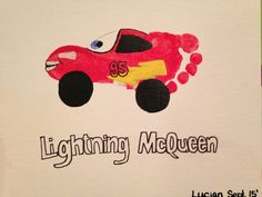 Lightning McQueen footprint art Disney Crafts For Kids, Craft Activities For Kids, Projects For Kids, Art For Kids, Daycare Crafts, Preschool Crafts, Toddler Art, Toddler Crafts, Fingerprint Art