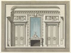 """Tombstone:  Drawing, """"Wall Elevation for a Salon with Mantelpiece"""", ca. 1785.  ca. 1785. Pen and black ink, brush and rose and blue watercolor on paper.The Smithsonian, Cooper-Hewitt, National Design Museum"""