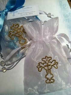 Organza  with Gold Embroidered Cross Bag for First Communion, Confirmation, Baptism and Christening Favors or Sachets. $10.00, via Etsy.