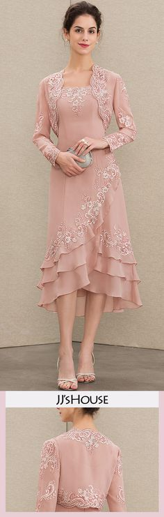 A-Line Square Neckline Asymmetrical Chiffon Mother of the Bride Dress With Appliques Lace Cascading Ruffles Mother Of Groom Dresses, Mothers Dresses, Mother Of The Bride, Pretty Dresses, Beautiful Dresses, Evening Dresses, Prom Dresses, Bride Dresses, Mom Dress