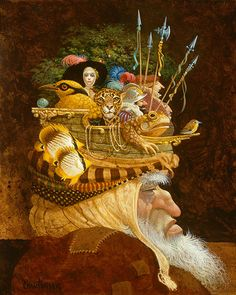 Old Man With A Lot on His Mind by James C. Christensen ANNIVERSARY CANVAS EDITION