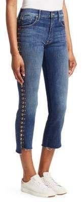 MOTHER Insider Studded Step-Hem Cropped Jeans Hem Jeans, Cropped Jeans, Pants, Women, Fashion, Trouser Pants, Moda, Trousers, Fashion Styles