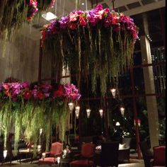 Gorgeous floral chandeliers @ The Oriental Bangkok Hanging Centerpiece, Centerpieces, Flower Chandelier, Flower Ceiling, Floral Wedding, Wedding Flowers, Decoration Evenementielle, Flower Installation, Hanging Flowers