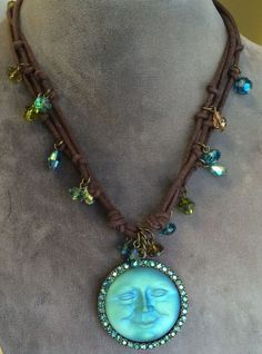 AMAZING KIRK'S FOLLY SEAVIEW MOON MAGIC CORD NECKLACE TURQUOISE CRYSTALS #KirksFolly #Pendant