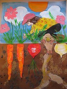 Pamela Holderman: how does your garden grow? book about the large radish and folktales Kindergarten Art, Preschool Art, Arte Elemental, Spring Art Projects, 2nd Grade Art, Art Lessons Elementary, Art Lesson Plans, Art Classroom, Summer Art