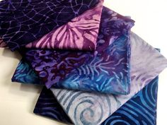 Purple and Blue Batik Fabric Bundle 6 Fat Quarters  Quilting Weight  Boundless Mixers  Stash Builder Quiltsy Destash Party  Discount Fabric by SallyManke on Etsy