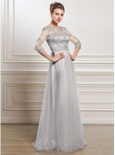 A-Line Princess Scoop Neck Floor-Length Beading Appliques Lace Sequins  Zipper Up Sleeves Sleeves No 2015 Silver Spring Summer Fall General Plus  Tulle Mother ... 481af65e27a6