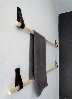 DIY Handtuchhalter - Mit Leder Schlaufen uns Stöcken arbeiten