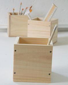 Mini caissons de rangement en bois