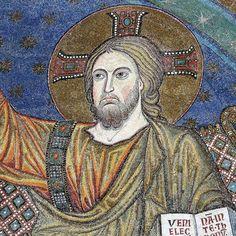 Rome - Santa Maria Maggiore - apse mosaic 'Coronation of the Virgin' 1295 Jacopo Torriti detail. Rome, Santa Maria Maggiore, Q50, Mosaic Art, Fresco, Christianity, Mona Lisa, Detail, Artwork