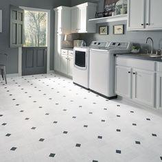 Luxury vinyl tile sheet floor art deco layout design inspiration for kitchen bathroom foyer dining laundry room space.   Flooring can be purchased at Hopkins Carpet One hopkinscarpetone.com
