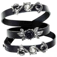 Alchemy Gothic Rose of Perfection Leather Wriststraps A116