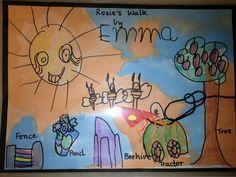 Rosie's walk activity Rosies Walk, Positional Language, Talk 4 Writing, Numeracy Activities, Story Books, Teaching Social Studies, Farm Theme, Prepositions, Book Themes