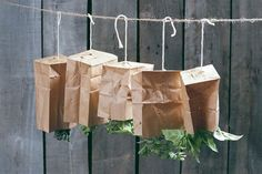 Drying herbs, instructions on how to, the paper bags keep the dust off if in an unused room or closet.