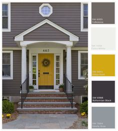 Mydoma. Traditional with a Twist! How can you do anything but smile when looking at this home?  This yellow door is incredibly inviting and is balanced out with neutral grey siding.Traditional with a Twist via General contractors on Houzz.