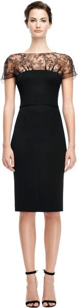 Nina Ricci Fitted Pencil Dress with Lace Neckline in Black